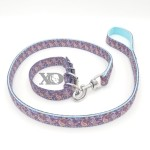 1 Collar Lead Set- Purple Paisley Outer- Light Blue Inner
